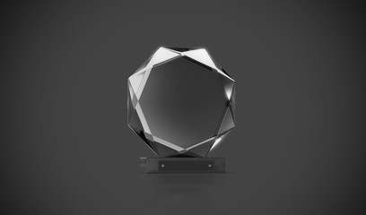 Blank glass trophy mockup stand on clear marble base, 3d