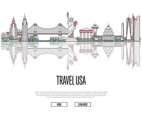 Travel tour to USA poster with famous architectural attractions in linear style. Worldwide traveling and time to travel concept. American panorama with landmarks, tourism and journey vector banner