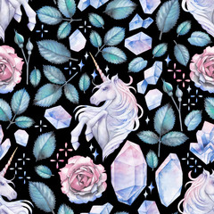 Watercolor design with unicorn and rose vignette