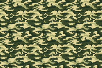 Green camouflage texture, seamless pattern. Vector