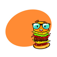 Funny character of cheeseburger in eyeglasses with place for text, vector cartoon illustration isolated on white background