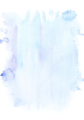 Abstract painting with light blue paint blots and strokes on white
