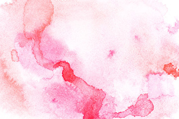 Abstract painting with red watercolour paint blots on white