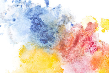 Abstract painting with colorful paint spots on white