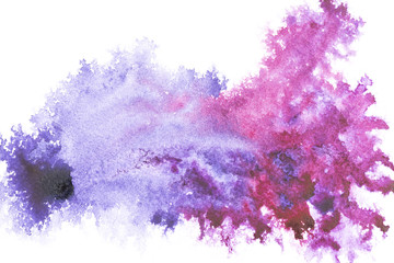 Abstract painting with bright blue and purple paint spots on white