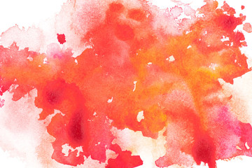 Abstract painting with red, orange and pink paint blots on white