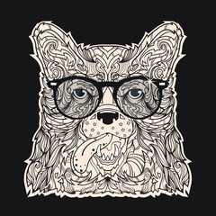 Fashion and styled face of dog with black eyeglasses, vector line art illustration isolated on black background
