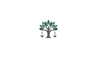 tree, scales, emblem symbol icon vector logo