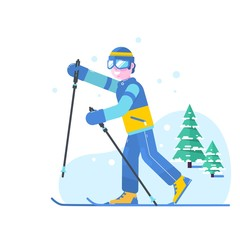 People skiing flat style design. Skis isolated, skier and snow, cross country skiing, winter sport, season and mountain