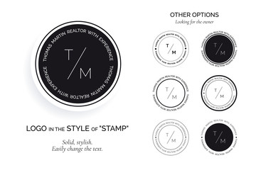 Collection of black and white logos in the style of the stamp. Logo templates under personal brand. Easily enter initials and slogan.