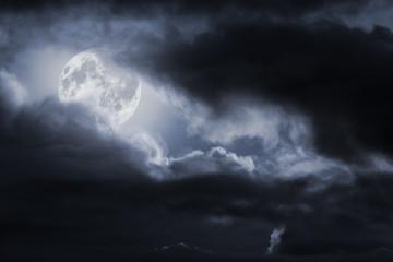 Full moon night sky in blue