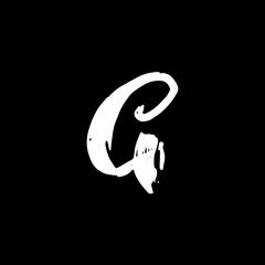 Letter G. Handwritten by dry brush. Rough strokes font. Vector illustration. Grunge style alphabet.
