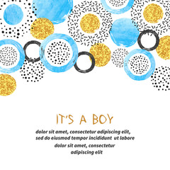 Baby Shower boy card design with abstract blue and glittering golden circles.