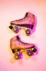 Retro pink glittery roller skate - poster layout design