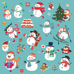 Vintage Christmas poster design with vector Santa Claus, snowman, reindeer characters.
