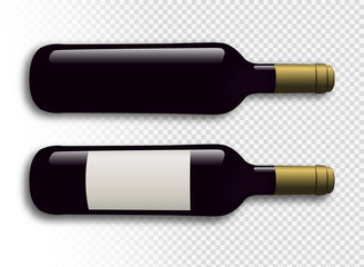 Illustration of red wine bottles with transparent background. Wine bottles with shadow. Wine bottles with label. Vector drawing isolated.
