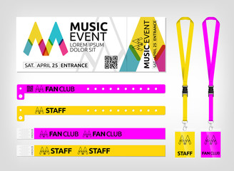 Mockup of different access control designs. Suitable for events, concerts, parties, festivals and private areas. Bracelets, ticket and lanyards.