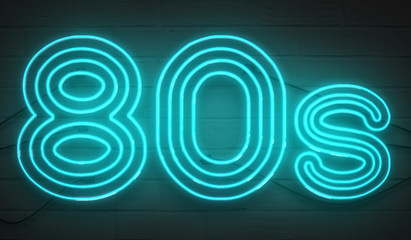disco dance 80s neon sign lights logo text glowing color blue on dark black brick background, vintage style