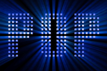 vintage blue metallic pop word text with light reflex and blue rays effect on black background, concept of luxury music disco pop concert entertainment event