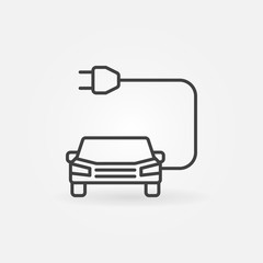 Car with plug icon or symbol in line style