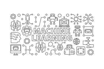 Machine learning vector modern horizontal banner or illustration