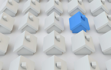 Housing concept. Blue home stands out from others. 3D Rendering
