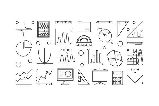 Algebra and mathematics vector minimal illustration
