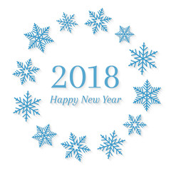 2018 and Happy New Year concept with blue snowflakes around it in circle shape. Abstract wreath and seasonal design on white background.