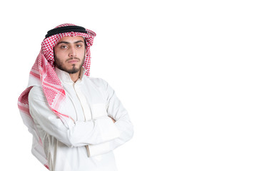 Young arab  buisnisman. Isolated