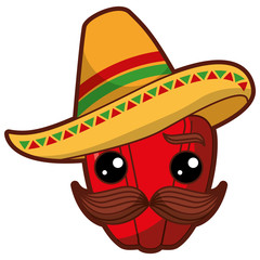 fresh pepper with mexican hat kawaii character vector illustration design
