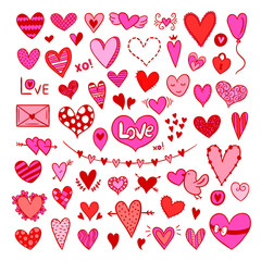 Romantic Valentine's Day hearts doodle illustrations. Graphic elements for Valentine's Day cards and wedding invitation