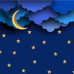 Fototapete - Blue paper clouds on night sky with paper moon and stars