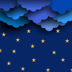 Fototapete - Paper blue clouds on night sky with paper stars