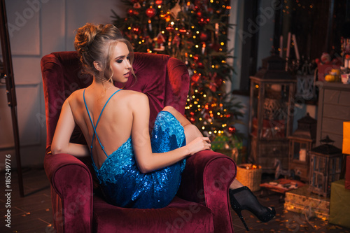 Hy Beautiful Woman Have A Rest Before New Year Celebration Dress And High Heel