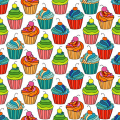 Sweet cape cakes seamless pattern on white background. Textile rapport.