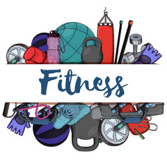 Set of fitness accessories, sketch cartoon illustration of gym equipment for home exercise. Vector