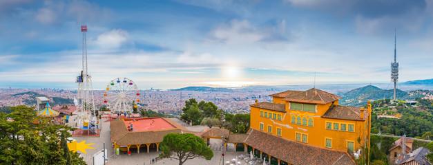 Barcelona city panorama view from Tibidabo Mountain