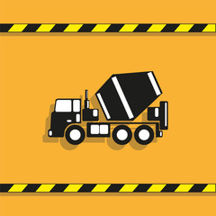 Truck concrete mixer. Vector icon.