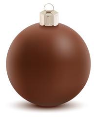 Brown chocolate christmas ball. Sweet festive decoration