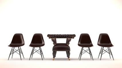 Braune Stuhlreihe mit edlem Sessel-Stuhl