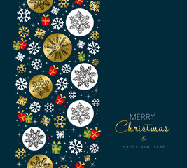 Christmas and new year gold snow greeting card