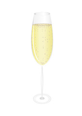 A glass of champagne. Vector. Free space for text or advertising