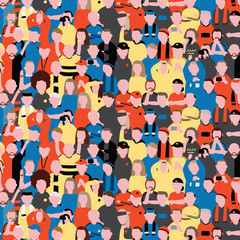 Seamless vector pattern of crowd people at football stadium. Sports fans cheering on their team Pattern illustration in cartoon style.
