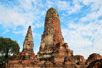 The ruins of ancient city on a background of a blue sky. Ayutthaya Historical park. Ayutthaya, Thailand.
