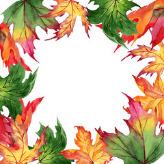 Maple leaves frame in a watercolor style. Aquarelle maple leaves for background, texture, wrapper pattern, frame or border.