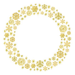 Watercolor golden snowflakes arranged in a circle frame. Christmas and New Year template