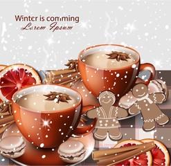 Winter hot tea and gingerbread cookies Vector realistic illustrations