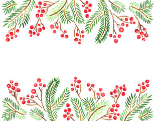 Watercolor fir tree branches and holly berries. Christmas decoration template