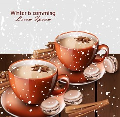 Winter hot tea and gingerbread cookies Vector realistic illustrations