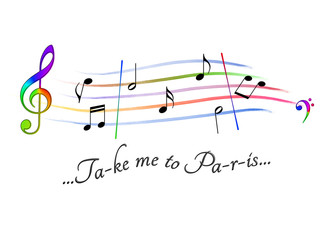 Musical score colored Take me to Paris